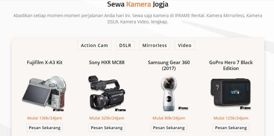 Rental Kamera Jogja dengan Website yang SEO Friendly